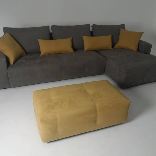 Another custom sofaset by Gi. Otto Living Sofa. Antistain/easy to clean fabric. Modern colors and forms. Deep seats ensure comfort and became a comfortable bed when you take off the backrests. #fabricsofa #sofas #sofabed #customsofa