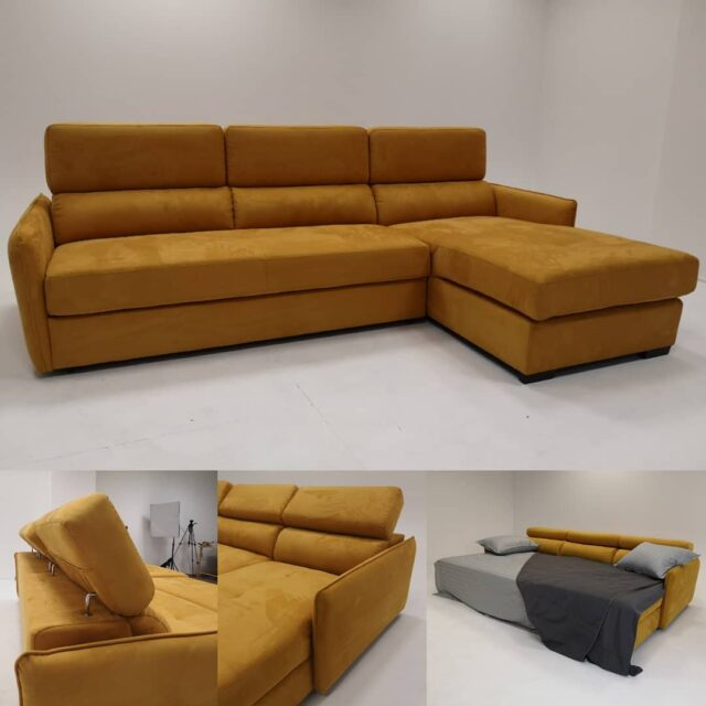 Even in hard times, we try to stay positive and creative. The new member of the family is Filippo, angle sofa and sofabed, here in microfiber, color Mostaza. #sofabed #sofa #furniture